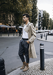 Dominik H. Mueller - Burberry Trenchcoat, Cos White Shirt, Imperial Grey Dress Pants, Vagabond Camel Boots - London Look