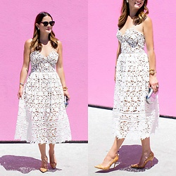 Jenn Lake - Urban Outfitters Round Sunglasses, Self Portrait White Lace Dress, Giles And Brother Gold Cuff, Tory Burch Silver Clutch, Manolo Blahnik Point Toe Pumps - White Lace Dress for Summer