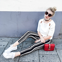 Franziska Elea - Topshop Top, Zara Pants, Adidas Sneakers, Valentino Crossbody Bag, Asos Choker, Primark Sunnies - Stripes and Valentino