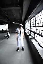 INWON LEE - Byther Flat Rope Custom Felt Fedora Hat, Byther Center Line Color Custom White T Shirt, Byther String Detail White Wide Leg Trouser Pants - Classic Painted Line
