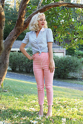 Kayla J - Campbell Crafts Blue Diner Shirt, Collectif Clothing Pink Gingham Trousers - Pastel Diner