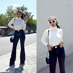 Daphne Blunt - Acne Studios Sunglasses, Jbrand Flare Jeans, Chanel Flap Bag, Chanel Western Belt, Louis Vuitton Boots - Melrose Place