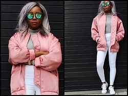 Chichi Ogb - Mango Bomber Jacket, Mango Bodysuit, Topshop Jeans, Quay Sunglasses - Cool Kids wear Pink