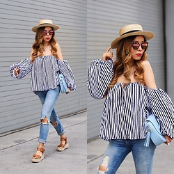 Sasa Zoe - On Sale Less Than $50 Top, Jeans, On Sale Bag, Only $50 Sunglasses, Sandals, Hat - HELLO SUMMER