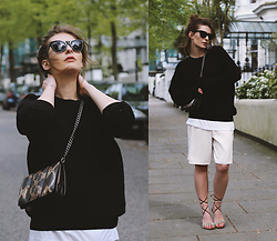 Denisia A. - Basic Apparel Sweatshirt, Cos White Top, Bali Tomali Bag, Dolce & Gabbana Lace Up Sandals, Mango Sunnies, Topshop Shorts - How to elevate your basics