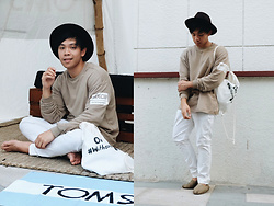 Ronwell Lim - H&M Brown Sweater, H&M White Chino - TOMS' A Day Without Shoes