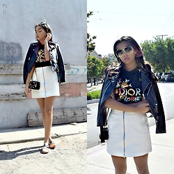 Daphne Blunt - Vintage Dior Tshirt, Alexander Wang Skirt, Miu Miu Flats, Moschino Bag, Zara Leather Jacket, Celine Sunglasses - 1 Girl, 2 Moto Jackets