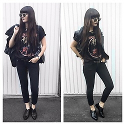 Louisa Violetta - H&M Shoes, Iron Maiden Bandshirt, Zara Bag, Ebay Bandana, Ettika Choker - A bandshirt is always a good idea