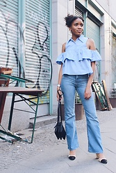 Nelly Negret - Lee Jeans, Celine Trio Bag, Shoulder Off Blouse, Chanel Slingbacks - Girl next door