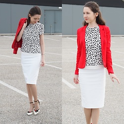 Claire H - H&M Red Blazer, H&M White Blouse With Dots, Zara White Pencil Skirt, Charlotte Olympia Heels - Cherry on top