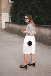 Hristina Micevska - Swarovski Sunglasses, Reiss Clutch, Zara Midi Skirt, Mango Striped Top - FRENCH CHIC