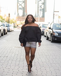 Christian Riley - Shop Sosie Off Shoulder Top, Tolani Collection Embroidered Shorts, Schutz Lace Up Heels - Walk of Faith