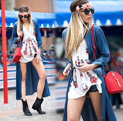 Dora D. - Zerouv Oversized Round Sunglasses, Maxi Denim Shirt Dress, Embroidered Folk Blouse - Denim is a love, that never fades !
