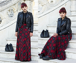 Camilla Marques - Zara Bag, Zara Leather Jaquet - Maxi Tartan Skirt, Biker Jacket & Harness