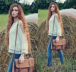 Nogynyan - H&M Blouse, Stradivarius Bag, Tally Weijl Jeans - In the field