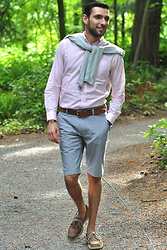 Hector Diaz - Club Monaco Pink Button Down (Similar), J. Crew Checkered Plaid Bermuda Shorts (Similar), H&M Light Gray Cardigan (Similar), Club Monaco Belt, Sperry Topsider Boat Shoes - Bermuda Shorts and Boat Shoes
