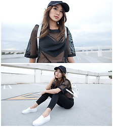 Atsuna Matsui - Flair Maddie Mesh Top, Topshop Black Joni Jeans, 2020ave Simple Sporty Baseball Cap, Linzi Corina Croc Slip On Skate - Maddie Mesh
