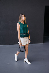 Maristella Gonzalez - Uterqüe Suede Top, Zara Mini Skirt With Front Pocket Detail, Saint Laurent Nano Sac De Jour, Uterqüe White Ankle Boots - Boxy Top With Fringe Detail