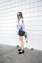 Sandy Joe Karpetz - Aldo Navy Suede Platform Sandals, Guess Chambray Flounce High Waisted Shorts, Ray Ban Mirrored Aviator Sunglasses, Kate Spade Black Leather Penelope Bag, Nars Vida Loca Lipgloss - Tie Dyed