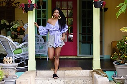 Monroe Steele - Storets Top, Vintage Shorts, Tibi Slides - Dramatic Sleeves in Colorful Little Haiti Miami