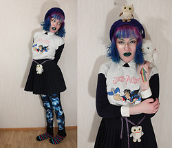 Lindwormmm - Thrifted Harry Potter Sweater, Old Hedwig Stuffed Toy, Thrfited Pleated Skirt, Blue Beret, Thrifted White Buttondown, Black Milk Clothing Patronus Leggings - Lindi Potter in Owlery