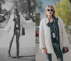 Anna Hasiak - Reserved Furry Coat, Evil Twin Glossy Leather Jacket, H&M Silver Jeans, New Look Platform Boots, Monnari Bag - Comfy but still good lookin'