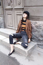 Paz Halabi Rodriguez - Asos Sailor Cap, Brown Wool Coat Made By Me, Lindex Striped Ribbed Top, Vintage Braided Belt, H&M Mom Ripped Jeans, Second Hand Granny Shoes - Mom Jeans + Stripes