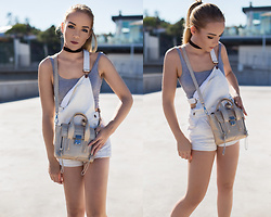 Silver Girl - H&M White Dungarees, 3.1 Phillip Lim Golden Pashli, Asos Crop Top - FIFTH AVENUE