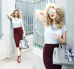 Margarita Maslova - Zara Marsala Skirt, Zara Bag, Happiness Boutique Necklace, @Studiamilk Scarf, Aliexpress Mirror Sunglasses - Marsala pensil skirt