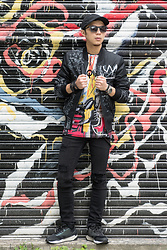 PJ Chen - Uniqlo Cap, Trity Sunglasses, Eleven Paris X Basquiat Jackets, Eleven Paris X Basquiat Graffiti Tee, Eleven Paris Damaged Skinny Jeans, Dada Sneakers, Orient Watch, Leather Wristband - ELEVEN PARIS X Basquiat