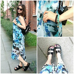 Illona.Verdi - Monki Dress, Oxmox Shoes, Jane Simson Bag - Blue like the sky