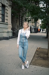 "Maria L - Madewell White Cotton Blouse, Madewell Button Up Overalls, Adidas Superstars - ""WHERE'S MY POTATO?"""