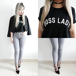 Thais Chung - Talita Kume Blazer, Forever 21 Boss Lady Tee, Forever 21 Grey Skinny Jeans, Arezzo Lace Up Sandals - BOSS LADY