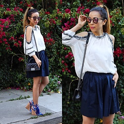 Sasa Zoe - On Sale For Only $15 Top, Only $58 Skirt, $50 Sunglasses, 40% Off Wedges, Bag - COLD SHOULDER AND PLEATED