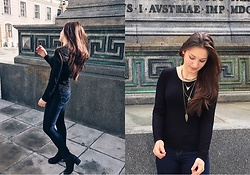 Anne G. - Stradivarius Necklace, Zara Black Blouse, Levi's® High Waisted Jeans, Black Ankle Boots - Blue & grey