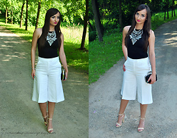 Natalia Uliasz - Mosquito Black Top, Mohito White Culottes, Happiness Boutique Necklace, Deezeepl Sandals - White culottes