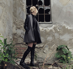 Emilyx Antidotex - Leather Sleeve Coat, Pvc Over The Knee Socks, Chunky Ankle Boots, Body Chain - And we don't need the sky