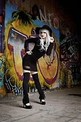 Saija Sasetar - H&M Black Wool Hat, Wig Is Fashion Silver Grey, Emp Gothicana Black Cording Dress, Emp Gothicana Black Buckle Legwarmers, Spirit Black Pumps - Pastel Goth Witch