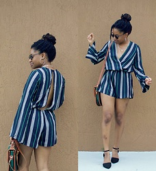 Olivia Noel - Amiclubwear Striped Romper - Striped Romper!