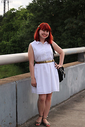 Jamie Rose - Kate Boss White Sleeveless Shirt Dress, Gold Coin Belt, Chinese Laundry Snakeskin Flats - White Shirt Dress