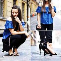 Asia M. - Off Shoulder Denim Top, Small Black Bag With Tassel, High Heeled Classic Black Sandals - Off Shoulder Top