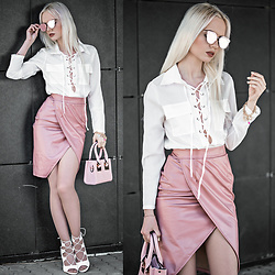 Oksana Orehhova - Zerouv Sunglasses, Oceanfashion Bag, Oceanfashion Bracelet - PASTEL PINK SUMMER