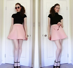 Raquel Teichroeb - High Neck Crop Top, Bubblegum Skater Skirt, Velvet Platforms, Round Vintage Shades - When You Were My Baby