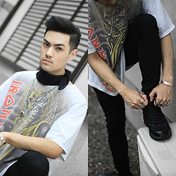 Kevin Kinno - Iron Maiden Vintage Tee, Black Bandana, H&M Skull Necklace, Bershka Black Skinny Jeans, Bershka All Black Trainer, Silver Rings, Cartier Inspired Bracelets - IRON