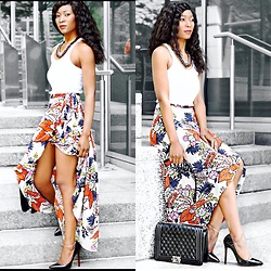 Eunice Addo - River Island Wrap Skirt, Topshop Vest Top, Chanel Bag, Christian Louboutin Court Shoe - Floral Maxi