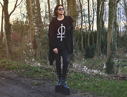 Asmodeus Moonlight Hel - Urban Outfitters Black Sunglasses, Long Clothing Omega Sweater, Levi's® Black Skinny Pants, Demonia Goth Platform Boots, Zara Asymetric Outerwear - Black is the new black