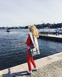 Cristina Gheiceanu - Kira Plastinina Suit - Red in Stockholm