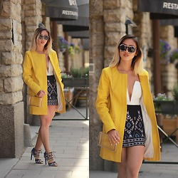 Louise Xin - Mango Yellow Coat, Nasty Gal White Bralett Nastygal, H&M Beaded Skirt, Asos Transparent Bag, Zara Lace Up Heels - Hello sunshine