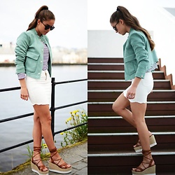 Marielle - Zara Jacket, Forever 21 Shoes, Sheinside Skirt - Green suede