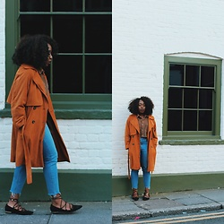 Enny Odeniyi - Topshop Suede Coat, Topshop Light Blue Jeans, River Island Laced Up Flats - Snooze